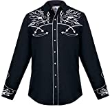 Modestone Men's Embroidered Long Sleeved Fitted Western Hemd Filigree Black S