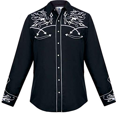 Roper Western Shirt (Modestone Men's Embroidered Long Sleeved Fitted Western Hemd Filigree Black L)