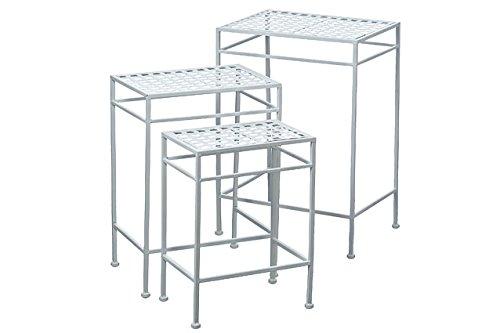 Der French Country Style Satztische Nesting Tables, Set 3, Outdoor, weiß lackiert Eisen, rostbeständig, 22, 19, 153/4hoch,, ganze Haus Welten - Country Outdoor-beistelltisch