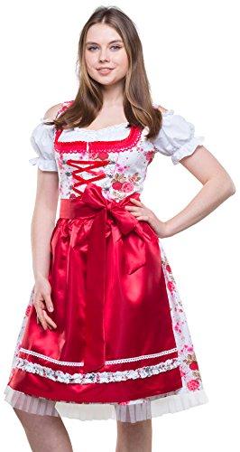 Bavarian Clothes Dirndl Damen Rot Weiß Trachtenkleid 3 teilig '7040' Midi Dirndl mit Dirndlbluse und Dirndlschürze Oktoberfest (Größe 42)