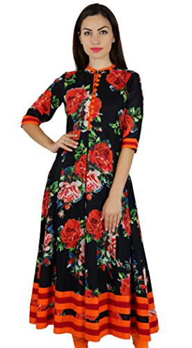 5eb87a3147 Bimba Women Floral Printed Black Cotton Kurta Mandarin Collar Anarkali  Kurti Indian Designer Ethnic Dress