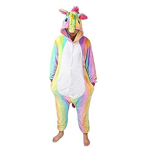MJTP Süß Einhorn Overall Pyjama Jumpsuits Tier Entwurf Kostüme Schlafanzug Für Kinder Erwachsene Unicsex Karneval Weihnachten Festival Party Kostüme (M, Regenbogen (Pyjama Overall)