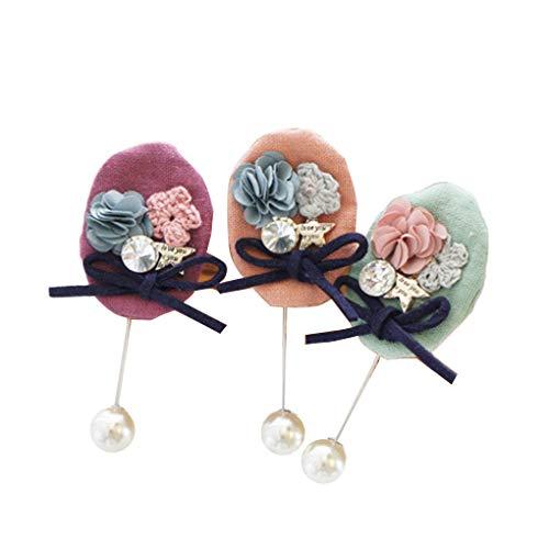 Beaums 3PCS Vintage Style Mädchen Baumwolle und Leinen Brosche Frauen Blume Abzeichen Bekleidung Tasche Breastpin Hochzeit Zubehör (Abzeichen Leine)