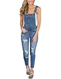 89870562dea2 Dearlove Womens Washed Distressed Jeans Overalls Cross Back Dungarees Jumpsuit  UK 6-22