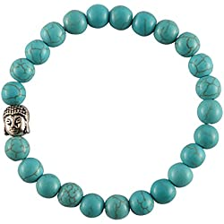 Aatm Reiki Energized Gift Natural Gemstone 7-8mm Round beads Buddha Beaded Turquoise Gemstone chakra Stretch Bracelet Unisex for Healing