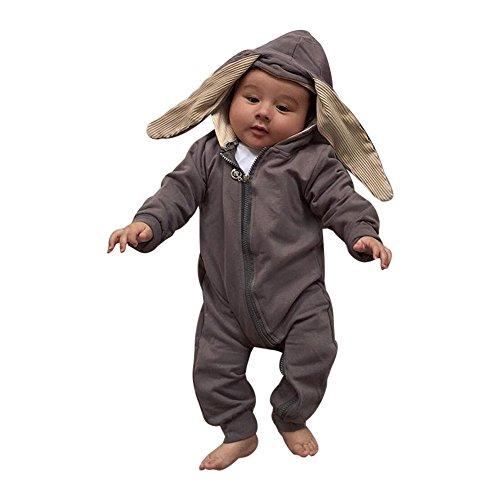 hen Junge Kaninchen 3D Ohr Warm Spielanzug Overall Outfits Kleidung (18 monat, Grau) (Silvester Baby)