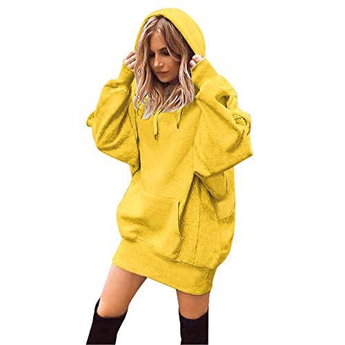 CUTUDE Damen Hoodie Langarm Sweatkleid Sweatshirt Maxi Kapuzenpullover Kapuzenpulli Frauen Long Hoodie Lang Pullover Sweat Hoody Loose Casual Einfarbige Sweatshirtkleid (Gelb, Small)