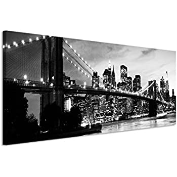 150x50cm leinwandbild auf keilrahmen manhattan brooklyn bridge skyline sonnenuntergang. Black Bedroom Furniture Sets. Home Design Ideas