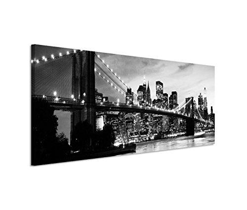 Paul Sinus Art 150x50cm Leinwandbild auf Keilrahmen Manhattan Brooklyn Bridge Skyline Sonnenuntergang Wandbild auf Leinwand als Panorama - Brooklyn Bridge Skyline