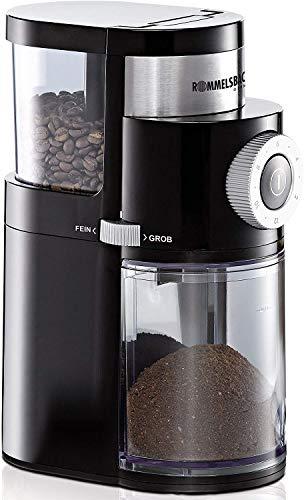 ROMMELSBACHER EKM 200 elektrische Kaffeemühle mit Scheibenmahlwerk / Kaffeepulver täglich frisch / 9 Stufen-Mahlgrad / Mengendosierung / 110 W / schwarz