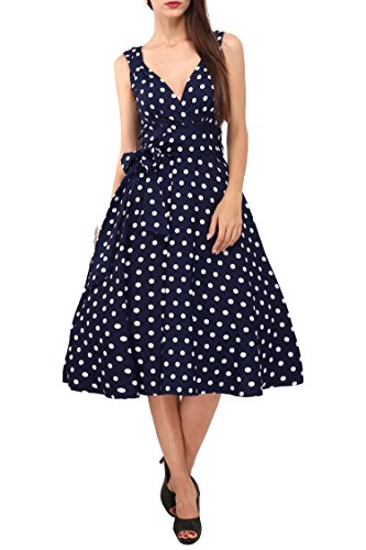 Tiered Tunic Top (Miss Lavish Damen Cocktail Kleid, Gepunktet mehrfarbig blau Gr. 54, navy)