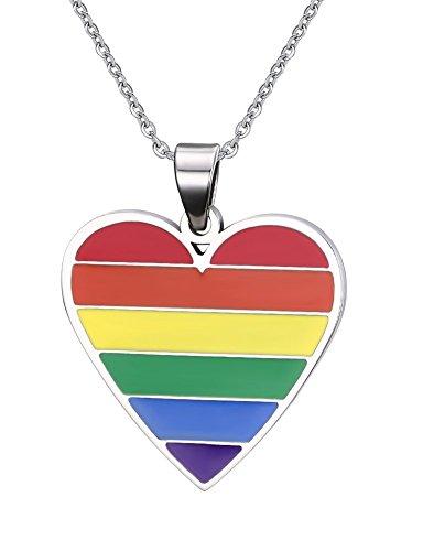 Vnox LGBT homosexueller lesbischer Edelstahl Herz Charme Regenbogen Stolz Halsketten Anhänger mit freier Kette (Regenbogen-halskette)