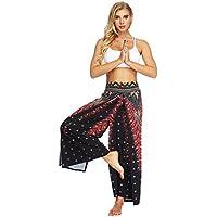 Pantalones de yoga de bolsillo de cintura alta. Ej Pantalones de yoga viento nacional elástico cintura ancho de banda flojo ejercicio delgado pierna ancha adecuado para la aptitud ( tamaño : L )