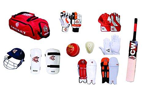 CW Herren Sports Team Cricket-Set rot mit English Willow Dragon Cricket Bat Komplett Batting & die Zubehör Ideal für Senior Cricket Player geeignet für Academy, Club & Praktiken - Cricket-batting-kit