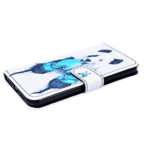 Yokata Cover per iPhone X Premium Pittura Painting Leather Cranio Disegno Custodia in PU Pelle con TPU Cassa Interna e Supporto Funzione Flip Wallet Case Bumper Book Style Stand Caso Protezione Shell  Panda