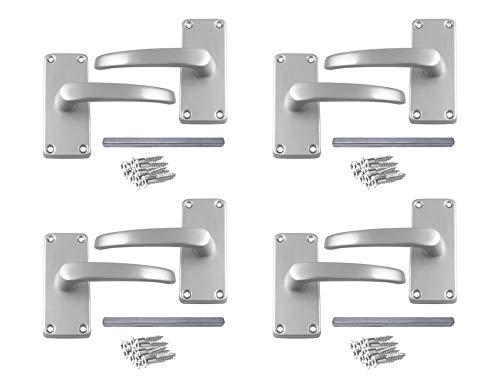 Juego de 4 tiradores de puerta de aluminio con accesorios de acabado anodizado