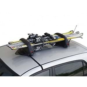 Porte-skis / Snowboard Magnétique pour Hyundai Santa Fe (DM) - (de 2012 => ...) - 3 paires de skis ou 2 Snowboards avec antivol - Motorparadise