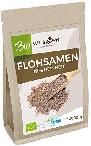 Mr. Brown BIO Flohsamen 2 KG | Indien 99 % Reinheit | aus kontrolliert biologischem Anbau 2000 g