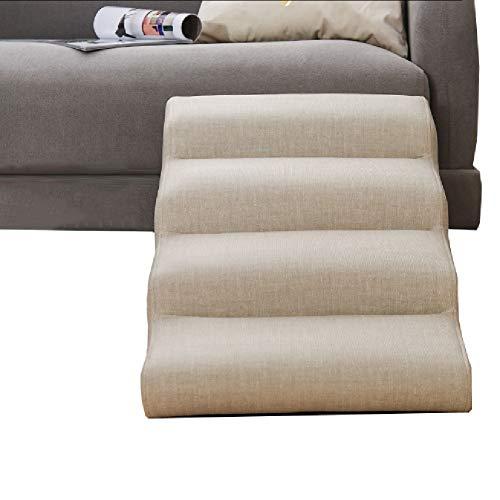 Hundetreppe Katzentreppe Haustiertreppe 4 Schritte Hunderampe for Hoch Couch & Bett - Katzen/Hunde/Haustiere Treppen Leiter mit waschbarer Bezug - Holzrahmen, Halten bis zu 60kg