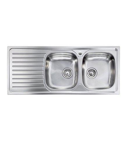 Lavello cucina Siros ad incasso in acciaio Inox, misura cm.116x50, con 2 vasche a destra e gocciolatoio a sinistra, completo di scarico