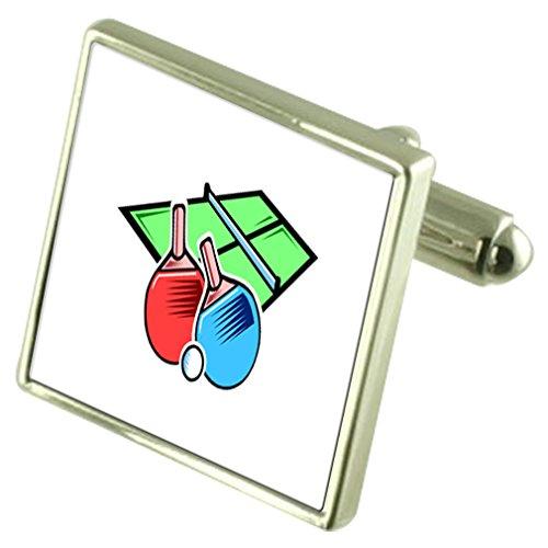 Preisvergleich Produktbild Tischtennis Sport Sterling Silber Manschettenknöpfe graviert Box Optional