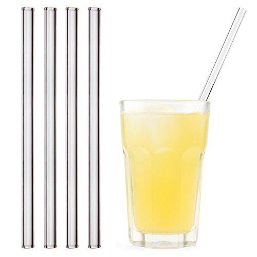 HALM Glas-Strohhalme 23 cm Transparent - 4 Stück gerade Wiederverwendbare Glas-Trinkhalme aus SCHOTT® Glas + Reinigungsbürste gesunde Glastrinkhalme, Glasstrohhalme für Cocktail, Smoothie nachhaltig (Und Orangensaft Gin)