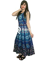 Exportaciones hechas a mano Azul Pavo Real Pluma Mandala sin mangas Noche Vestido largo maxi Vestido
