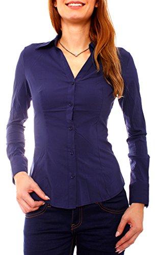 Damen Baumwoll Hemd Bluse langarm geknöpft tailliert Kent Kragen Stretchbluse Slim Fit uni einfarbig (38 / L, marine V-Neck)