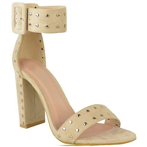 donna borchiato BLOCCO tacchi alti fibbia cinturino alla caviglia punta aperta Sandali Taglia Pelle Camoscio Sintetico