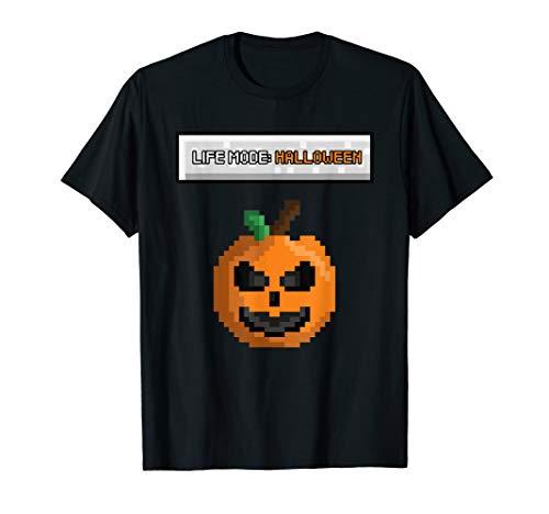 Life Mode Halloween Funny Gamer Pixel Pumpkin Skin Costume T-Shirt (2019 Halloween-party Adventure World)