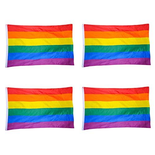 TOYANDONA Regenbogen Flagge LGBT Flagge Gay Lesbische Pride Geschenke Party Festival Dekoration 90X150cm 4pcs (Wirklich Kreative Kostüm)