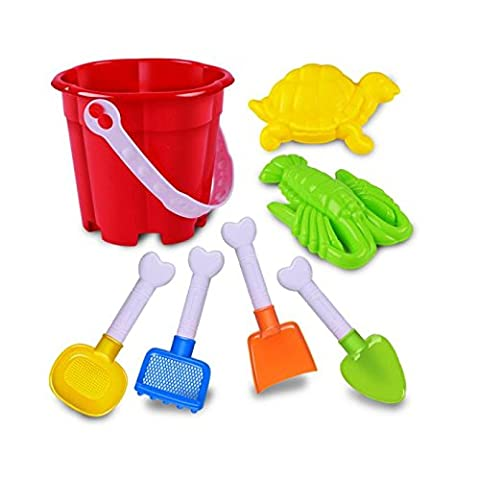 Switchali 7Pcs Sand Sandbeach Kids Beach Toys Castle Bucket Spade Shovel Rake Water Tools