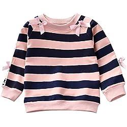 Sweat-Shirt Bébé Fille Col Rond, 1-5 Ans Sweats Bébé Fille Enfant Rayés à Manches Longues Nœuds Papillons Sweatshirt Pulls Vêtements Tops BaZhaHei(12-18 Mois,Rose)