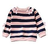 Yanhoo Kleinkind Baby Mädchen Gestreiftes Pullover mit Langen Ärmeln für Kinder Rundhals Casual Oberteile mit Schleife