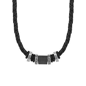 s.Oliver Herren-Kette mit Bead-Anhänger aus Edelstahl und Carbon, Leder geflochten, längenverstellbar (47+3 cm)