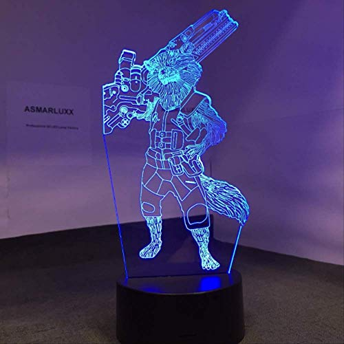 e Falsche Lampe Neuheit Rocket Raccoon Wächter 3d Beleuchtung Halloween Dekoratives Geschenk Kinder Holiday Usb 7 Farb-wechsel Lava-lampe Kinderhofeigen ()