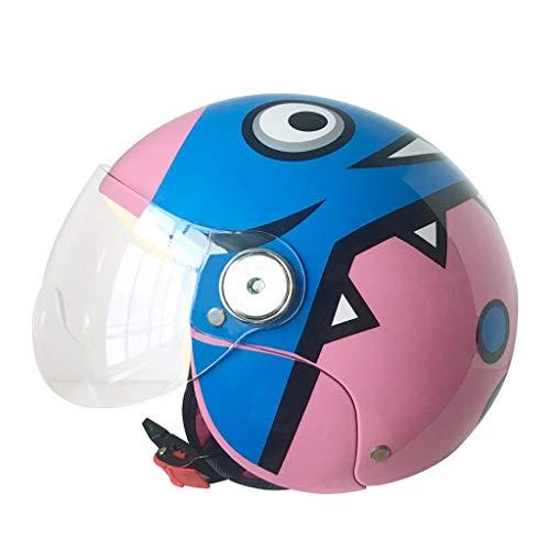 JHERT Casco Moto per Bambini Cute Cartoon Hard Hat Ragazzi e Ragazze Four Seasons Half Helmet (Color : Pink Dinosaur)