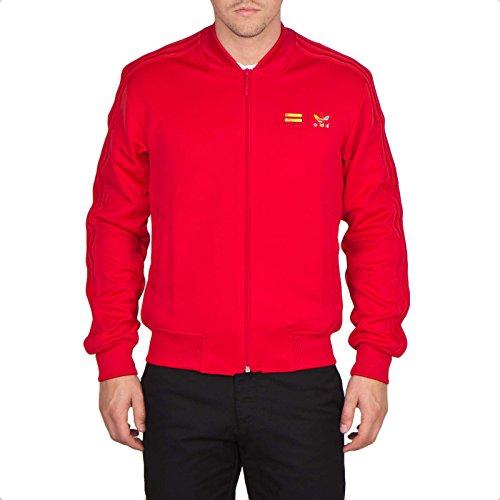 Adidas Originals Mono Colore Felpa con cerniera-Rosso S09, Uomo, Red, M