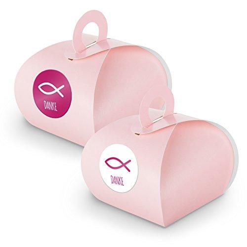 itenga SET 24x Geschenkschachtel mit Griff + Sticker Gastgeschenk (SET Danke Fisch (Motiv34), rosa)