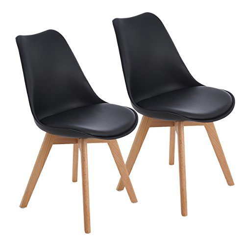 EGGREE 2er Set Esszimmerstühle Skandinavisch Küchenstuhl Stühle Modern mit Massivholz Eiche Bein und Kunstlederkissen, Schwarz (Eiche Stuhl Stück 2)