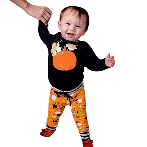 OdeJoy Baby Jungen Mädchen Halloween Karikatur Kürbis GedrucktOberteile + HoseSet Outfits Einstellen BriefHa Yi + Blume LangeHose Punkte Bluse Spielanzug Tops+Pants (Schwarz,70)