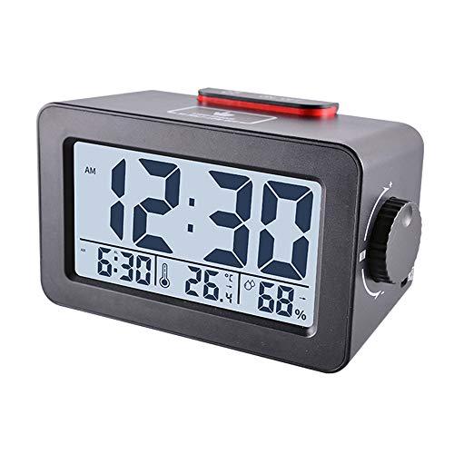 Réveil Multi-fonction Température et Humidité Horloge Multifonctions Réveil USB Chargeur Réveil Personnalisé Compteur Electronique Intérieur et Extérieur de Température et d'Humidité (Noir)