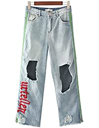 COCO clothing Damen Jeanshose Used Look Pants Hoher Bund Freizeithosen  Frauen Lose Culotte Breit Jeans Sommer 3f935045e4