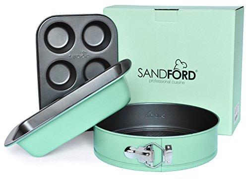 Sandford PERFECT CAKE | Backform Set 3-teilig | mit Springform, Muffinform & Kastenform | perfektes Starter-Set | frisches Design in pastell-grün | Backformen für Kuchen, Muffins, Cupcakes, Brot uvm.