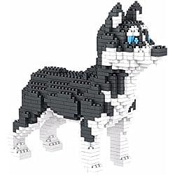 Atomic Building Perro Husky Siberiano. Figura para armar con nanobloques. 950 piezas.