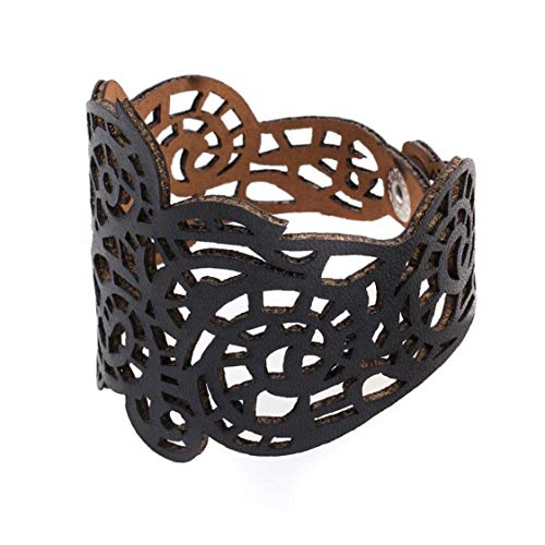 Lankater Frauen Höhlen Lederarmband-Charme Geflochtenen Seil Armband Armbänder Schmuck Geschenke Black -