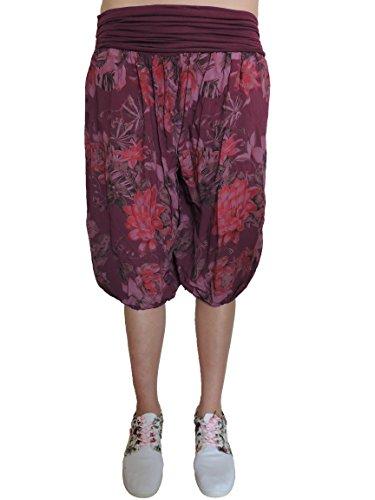 11 Farben kurze Damen Blumen Pumphosen Gr. 42 44 46 48 50 52 Rot-ton