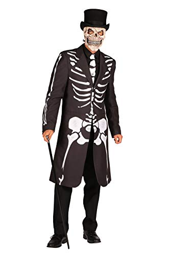 Halloween Kostüm Herren Skelett 2 Teilig Frack Krawatte I Seklettkostüm mit Knochen im Voodoo-Stil I Hochwertige Verkleidung für Karneval Fasching & Cosplay I Schwarz Weiß Größe L