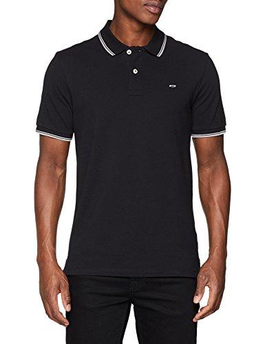 JACK & JONES Herren Poloshirt Jjecontrast Stripe Polo SS Noos, Schwarz (Black Detail: Slim Fit), X-Large (Herren-polo-shirt Basic)
