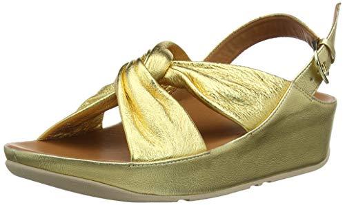 Fitflop Ruche Twist Grace Sandal-Leather, Punta Aperta Donna, Oro (Artisan Gold 667), 37 EU